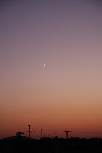 Moon Sliver Over Sunset