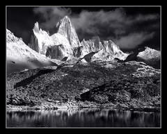 Luminous by Michael Anderson (AndersonImages) Tags: winter sunset patagonia white lake snow black reflection clouds america sunrise capri michael los south fitzroy hasselblad anderson medium format glaciares h2d