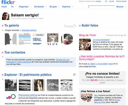 nueva página de inicio de Flickr
