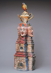 Family of Comedians, 2008, Cheryl Tall, ceramic (Cheryl Tall Art Studio) Tags: accessceramics accessceramics:technique=coilbuilt accessceramics:temperature=cone04 accessceramics:material=earthenware accessceramics:object_type=figurativesculpture accessceramics:height=25 accessceramics:width=9 accessceramics:date=2007 accessceramics:depth=9 accessceramics:glazing=terrasigillata accessceramics:title=familyofcomedians accessceramics:artist=cheryltall