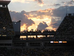 Sunset at Heinz Field (Vintage Cheri) Tags: city light sunset sky sun black game beautiful field sunshine clouds gold football team pittsburgh darkness stadium awesome picture stunning fans heinz steelers heavan darkenss photograpgh