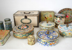 my tin collection (ATLITW) Tags: flowers blue red vintage collection eclectic homedecor tins thrifted