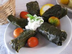 Dolmades in Santorini (jasmine_tea) Tags: food greek dolmades vineleaves