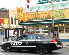 PCAR NYPD Parking Enforcement Police Car, Coney Island, New York City (jag9889) Tags: county city nyc blue original dog ny newyork hot beer car brooklyn bar french island restaurant stand automobile surf parking famous police nypd clam stop kings fries burgers transportation snack hamburger vehicle seafood enforcement coney avenue 2008 sandwiches department lawenforcement finest nathans frankfurters handwerker firstresponders newyorkcitypolicedepartment y2008 jag9889