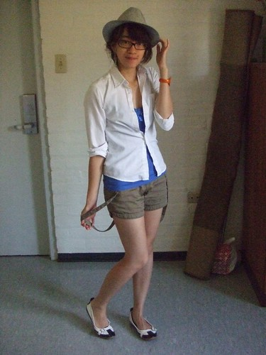White Shirt, found; Blue Tank, Guess; Suspender shorts, BCBGirls; Shoes, Tommy Hilfiger; Hat, found