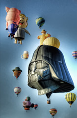 Darth Balloon Rising (JoelDeluxe) Tags: blue red orange black newmexico green yellow star fiesta balloon albuquerque dukecity 101 abq hotairballoon wars nm joeldeluxe darthvader 2008 hdr usetheforce albuquerqueinternationalballoonfiesta lookiamyoufarther
