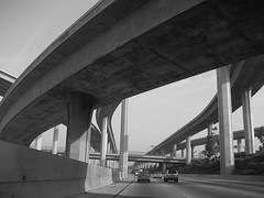 110 Freeway at 105 freeway (Metro Transportation Library and Archive) Tags: freeways hovlane dorothypeytongraytransportationlibraryandarchive highoccupancyvehiclelanes historypin