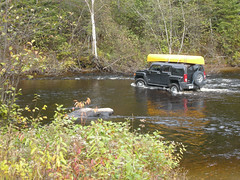 Hummer crossing the Sturgeon River