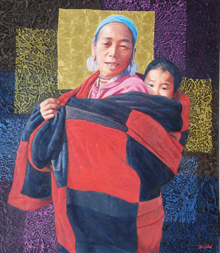 Hill Tribe of Myanmar series 10, by Tin Win, mixed media, 90x120cm