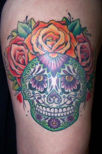 green sugar skull tattoo by maliareynolds