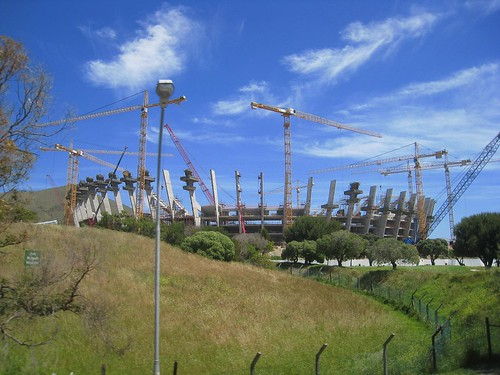 Soccer stadium under construction for 2010 World Cup