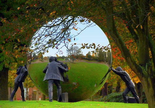 "Roundabout Sculpture Kings Hill by Kevin Atherton (1994) called ""A Different Ball Game""."