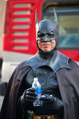 Fighting Crime is Thirsty Work (dogwelder) Tags: california man costume october comicbook superhero batman cape streetperformer aquafina hollywoodblvd dccomics zurbulon6 2008 waterbottle hollywoodandhighland cowl zurbulon gatturphy