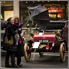 London to Brighton (strussler) Tags: girls broken umbrella canon eos day sigma windy apo cadillac 5d 1904 70300 supershot londontobrightonveterancarrun