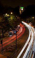 Race Against Time (GaryTumilty) Tags: road street trees cold london cars wet buses westminster night lights traffic pavement housesofparliament windy bigben taxis lighttrails damp