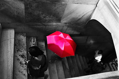 The Pink Umbrella... (cmac66) Tags: pink woman india stairs umbrella taj tajmahal climbing sari pinkumbrella