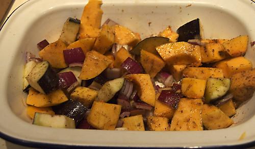 butternut squash and aubergines