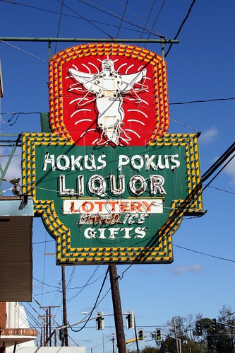 hokus pokus liquor neon sign