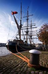 Kaskelot (archidave) Tags: red bristol boat sailing ship harbour floating bluesky uke mast rigging bollard harbourside ensign floatingharbour montypythonreference ropw kaskalot