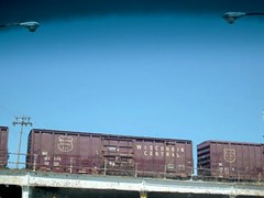 Wisconsin Central boxcars on a viaduct. Chicago Illinois. April 2007.