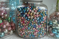 Jars of Mercury Glass Beads (such pretty things) Tags: christmas glass vintage beads mercury pastel balls craft garland storage supplies jars shabbychic