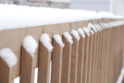 snowy railing