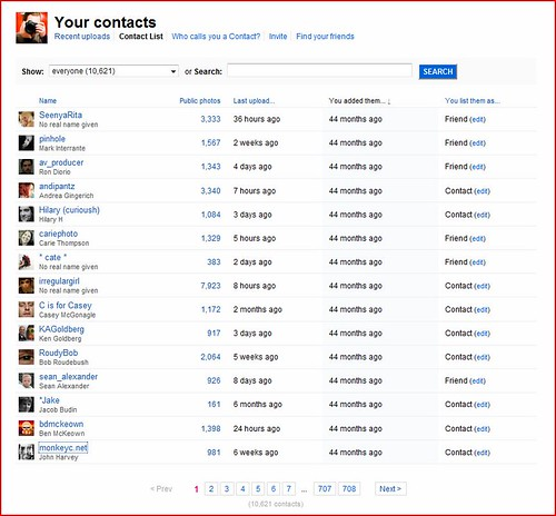 Flickr Improves Your Contacts Page