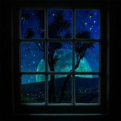 Wishing you all a magical Christmas... (borealnz) Tags: moon tree window square stars lights searchthebest southerncross moonlight cabbagetree silhoutette bsquare kiwichristmas thankspaulforthetexture borealnz