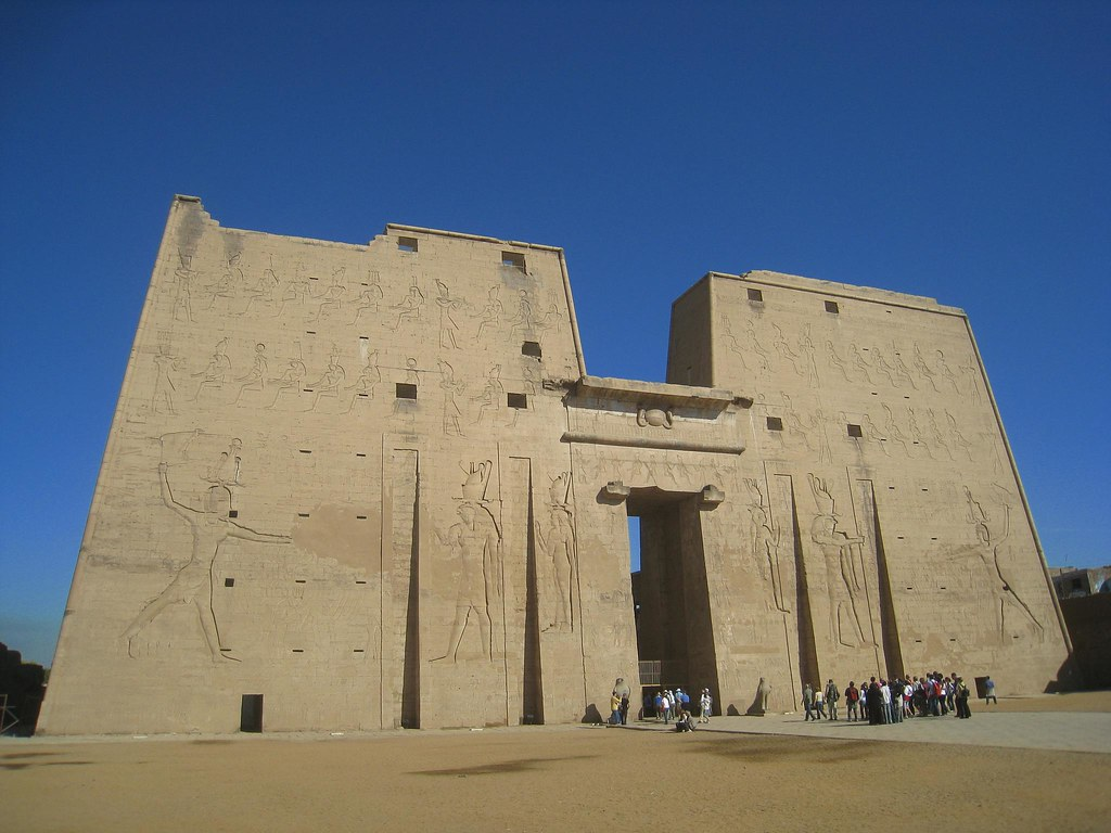 Hieroglyphics on temple facade
