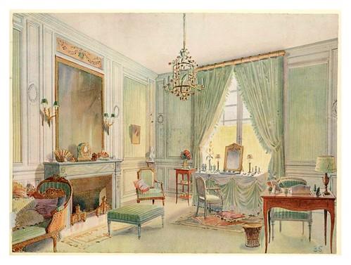 006- Boudoir Luis XVI con chaise longue-acuarela 1907