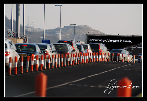 The Eurotunnel departs from Dover. There was a long wait because of the traffic jams. I thought this was appropriate, haha..