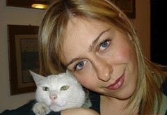 The cat of my life (Alinabionda) Tags: blue woman pet love girl cat donna eyes occhi blond alessandra gatto amore animale ragazza bionda azzurri