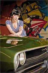 Mopar or no car. (Beat.) Tags: woman colors girl car fun fifties garage indoor retro whatever pinup 50ies challengerrt