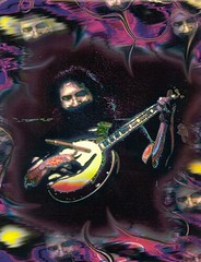 Jerry Garcia on banjo trippy design