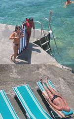 Capri (e m m a) Tags: sea italy water swimming oldman sunbathing turqoise sunbed turkos