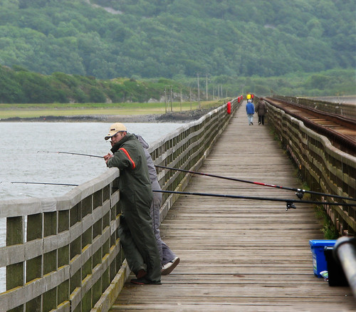 Fishing from the Barmouth Bridge