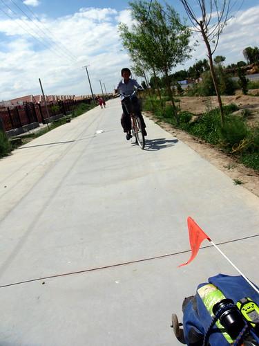 Tailed by a kid on bike near Gaotai, Gansu Province, China)