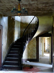 Foyer (tim.perdue) Tags: old family ohio red house abandoned farmhouse rural spiral interestingness paint decay farm empty places historic route chandelier national staircase vacant 23 register foyer renick friendlychallenges