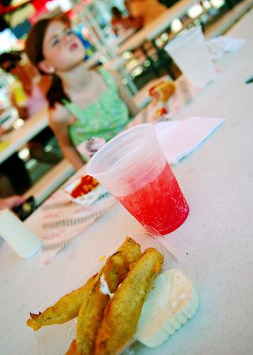 fried pickles and lime cherry drink