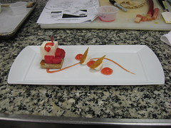 French Culinary Institute: Honey mousse with vanilla rhubarb compote, sheeps milk yogurt bergamot sorbet