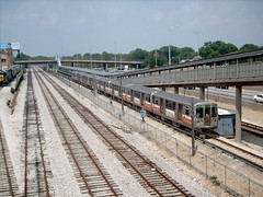 Eastbound CTA Blue line train at the Harlem Avenue station. Forest Park Illinois. June 2007.