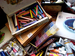 a is for art supplies (mollykiely) Tags: colorful colourful artsupplies cigarbox romeoyjulieta whiteowl a habanacigars augustalphabet vintagecigarboxes mendelion graceraretea