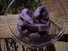 Yarn dyeing purple