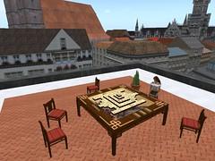 Mahjong auf dem Dach