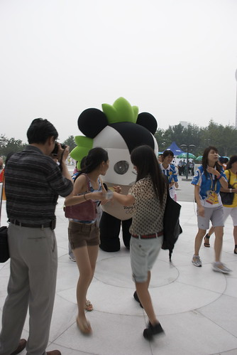 The Panda, especially, is always mobbed by teenage girls. Hes the Elivis of Fuwa. Even the Fuwa Poobah.