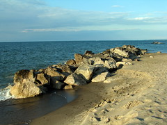 Breakwaters (gonisj) Tags: seagulls lake beach water swimming sand rocks erie rockybeaches