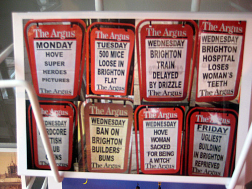 Brighton Argus Headlines Postcard
