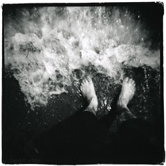 Feeling the ocean (david sine) Tags: ocean nyc blackandwhite newyork 120 film feet beach brooklyn mediumformat square fun coneyisland holga blogged holga120cfn