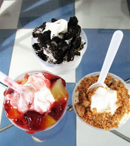 various toppings on frozen yogurt
