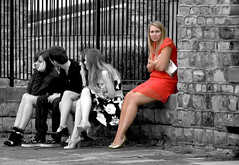 Lonely with Friends (wentloog) Tags: street uk girls red white black girl wales canon eos interestingness gallery britain candid cymru cardiff competition september explore caerdydd 5d lonely 2008 penarth reddress wfc selectivecolor selectivecolour canoneos5d 100400 wentloog welshflickrcymru stevegarrington ef100400f45l